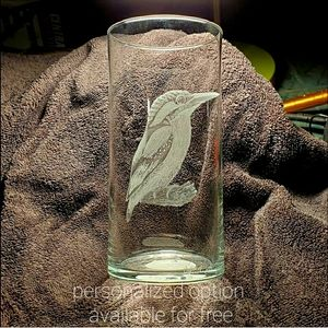 Hand engraved vase with bird. Customized with name